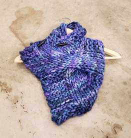 Devil May Wear Summerhill Cable Cowl. Hand Dyed. Hand Knit. 100% Merino Wool. Mystic Universe Purple