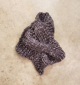 Devil May Wear Summerhill Cable Cowl. Hand Dyed. Hand Knit. 100% Merino Wool. Thunder Grey