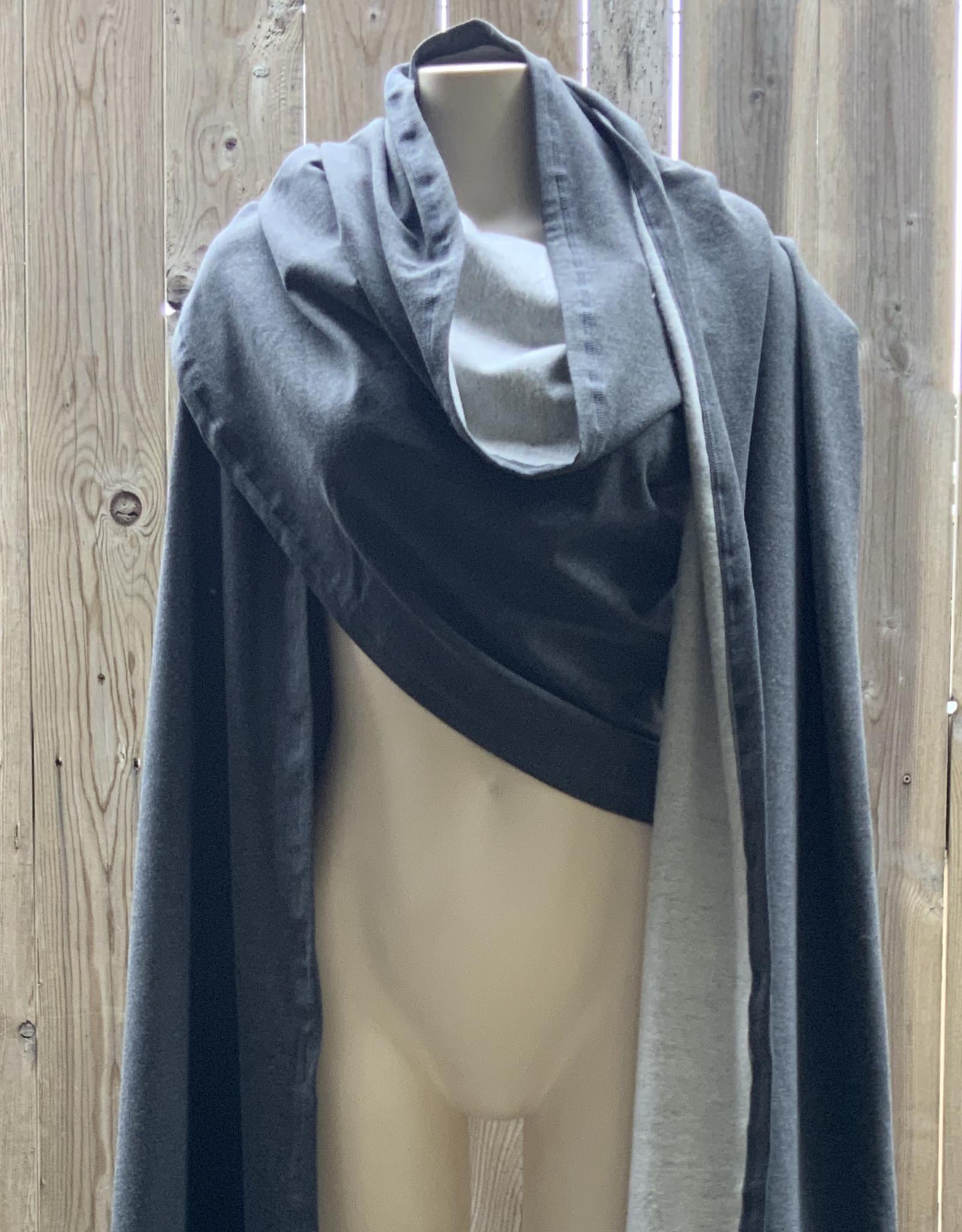 Devil May Wear Luxurious Long Merino Wrap, 3.65m, 86% Rayon From Bamboo, 9% Merino Wool, 5% Spandex, Charcoal