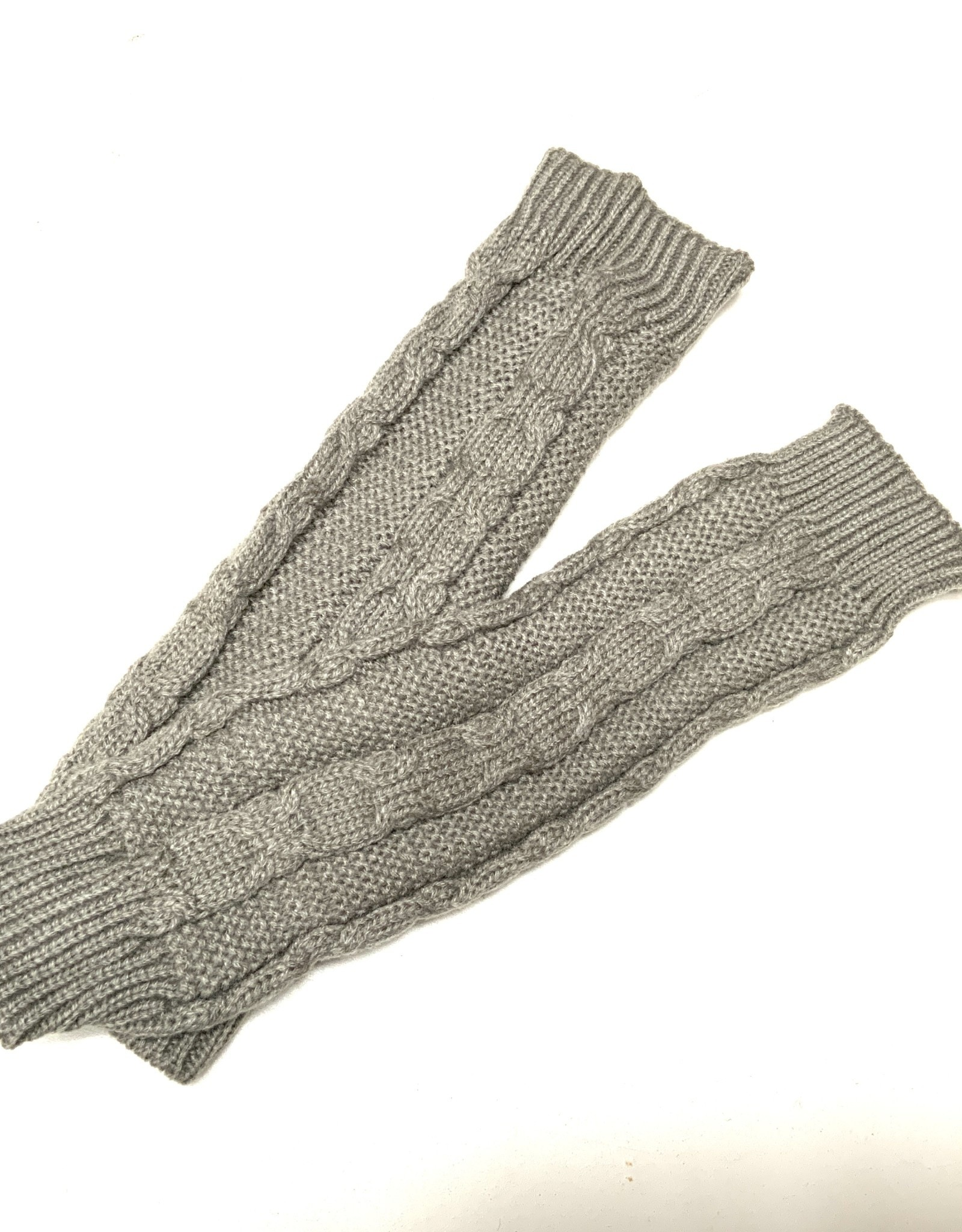 Young & Heart Long Fingerless Cabled Gloves With Thumb Hole, 100% Acrylic, Grey