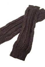 Young & Heart Long Fingerless Cabled Gloves With Thumbhole, 100% Acrylic, Brown