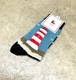 Young & Heart Lighthouse Crew Socks, 95% cotton, 3% polyester, 2% spandex