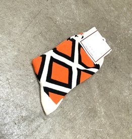 Young & Heart Retro Orange Crew Socks, 95% cotton, 3% polyester, 2% spandex