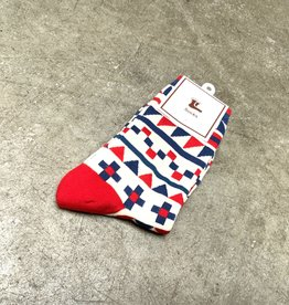 Young & Heart Red and Blue Geo Crew Socks, 95% cotton, 3% polyester, 2% spandex