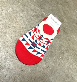 Young & Heart Red and Blue Geo Ankle Socks, 95% cotton, 3% polyester, 2% spandex