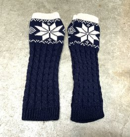 Young & Heart Winter Star Arm Warmers, 100% Acrylic, Navy/Cream