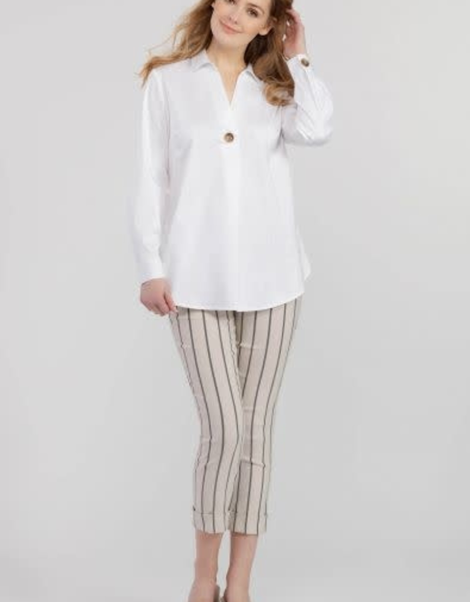 Tribal Accent Button Stretch Shirt