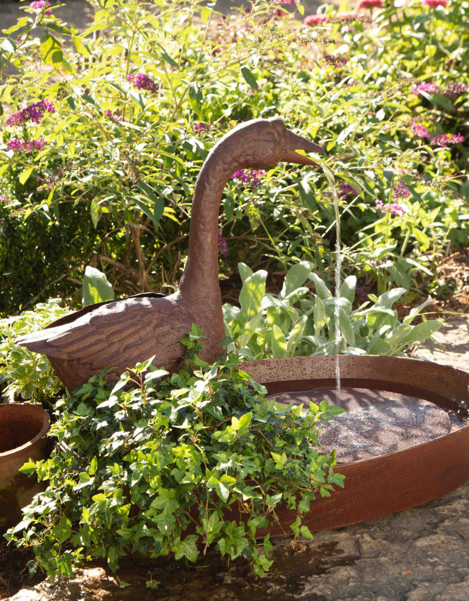 Park Hill Collection Goose Fountain with Planter