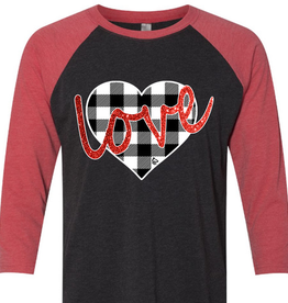 Red & Black Baseball Tee