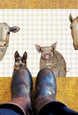 Greenbox Art Cattle Dog & Crew Floorcloth 40x20