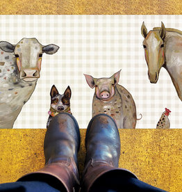 Greenbox Art Cattle Dog & Crew Floorcloth 40x20