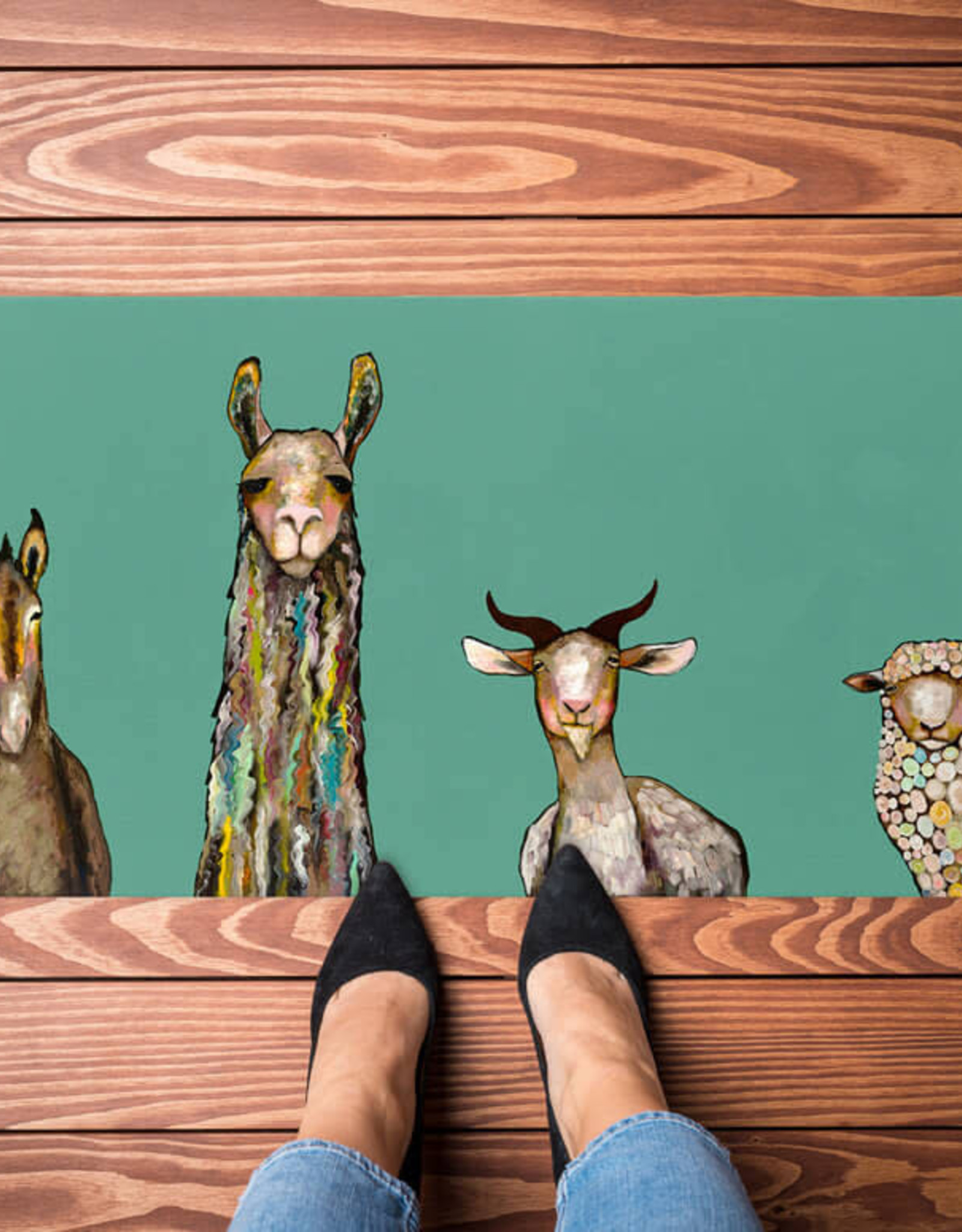 Greenbox Art Donkey Llama Goat Sheep Floorcloth 40x20