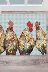 Greenbox Art Roosters Floor cloth 30 x 22.5