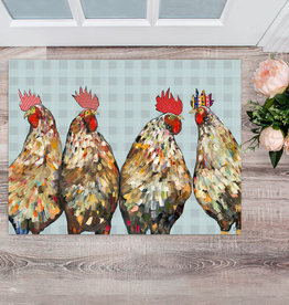Greenbox Art Roosters Floor cloth 30 x 22.5