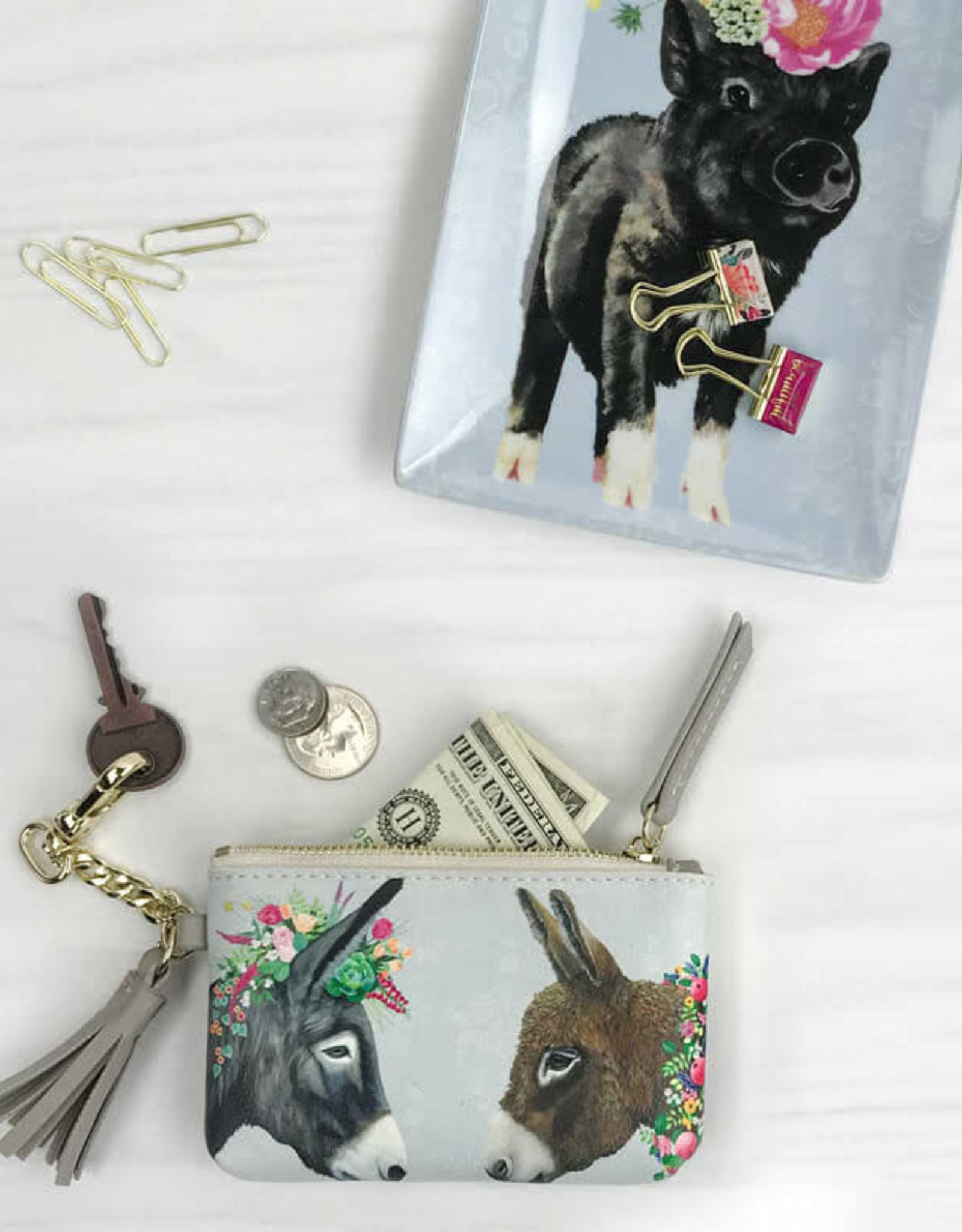 Greenbox Art Lovely Donkeys Key Pouch