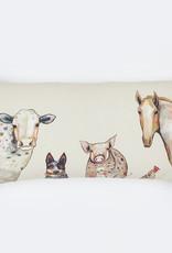 Greenbox Art Cattle Dog & Crew Pillow 28x14