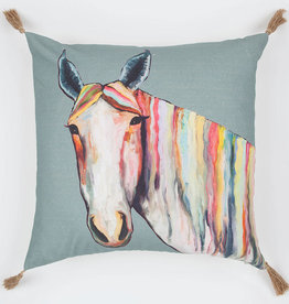 Greenbox Art Horse on Gray Pillow 20x20
