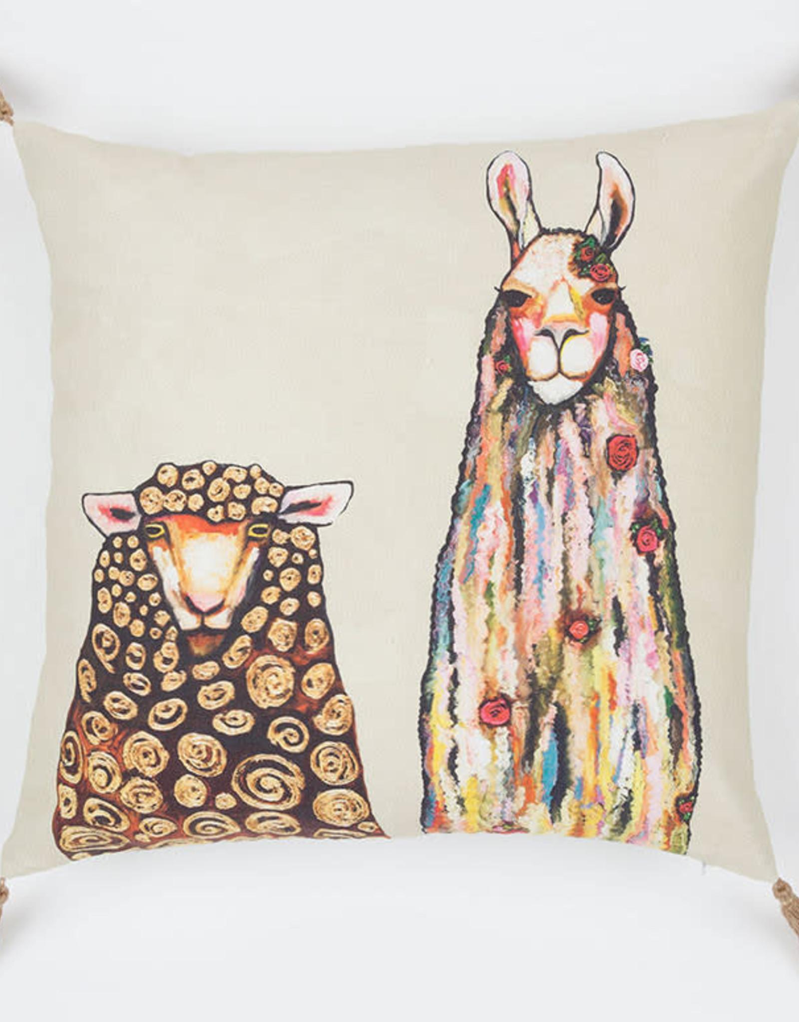Greenbox Art Llama Loves Sheep Pillow 20x20