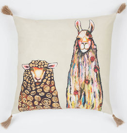 Greenbox Art Llama Loves Sheep Pillow 20x20