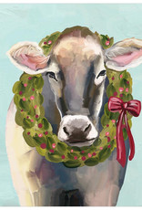 Greenbox Art Holiday - Festive Cow Canvas Wall Art