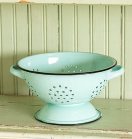 Park Hill Collection Park Hill Enamelware Colander - Robin's Egg Blue