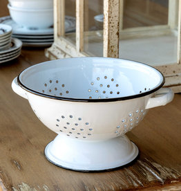 Park Hill Collection Park Hill Enamelware Colander - White