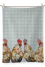 Greenbox Art Roosters Plaid Tea Towel