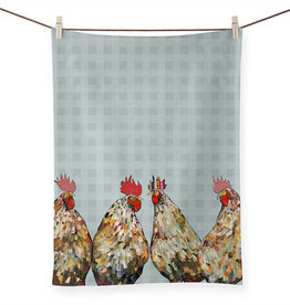 Greenbox Art Roosters Plaid Tea Towel