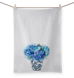 Greenbox Art Dreaming In Blue Hydrangeas Tea Towel