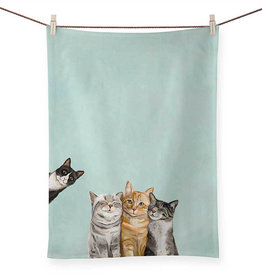 Greenbox Art Three Cats Plus One Tea Towel
