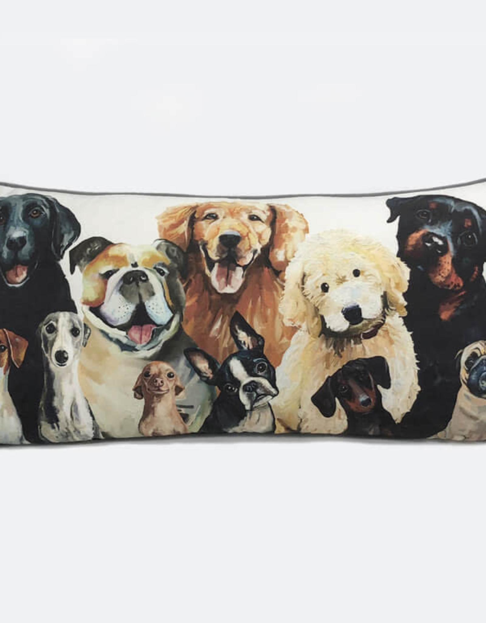 Greenbox Art Greenbox Dog Bunch Pillow 28x14