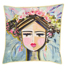 Greenbox Art She Is Fierce Pillow - Brunette