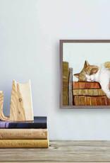 Greenbox Art Greenbox Cat On Books 3 Mini Canvas 6x6