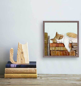 Greenbox Art Cat On Books 3 Mini Canvas 6x6
