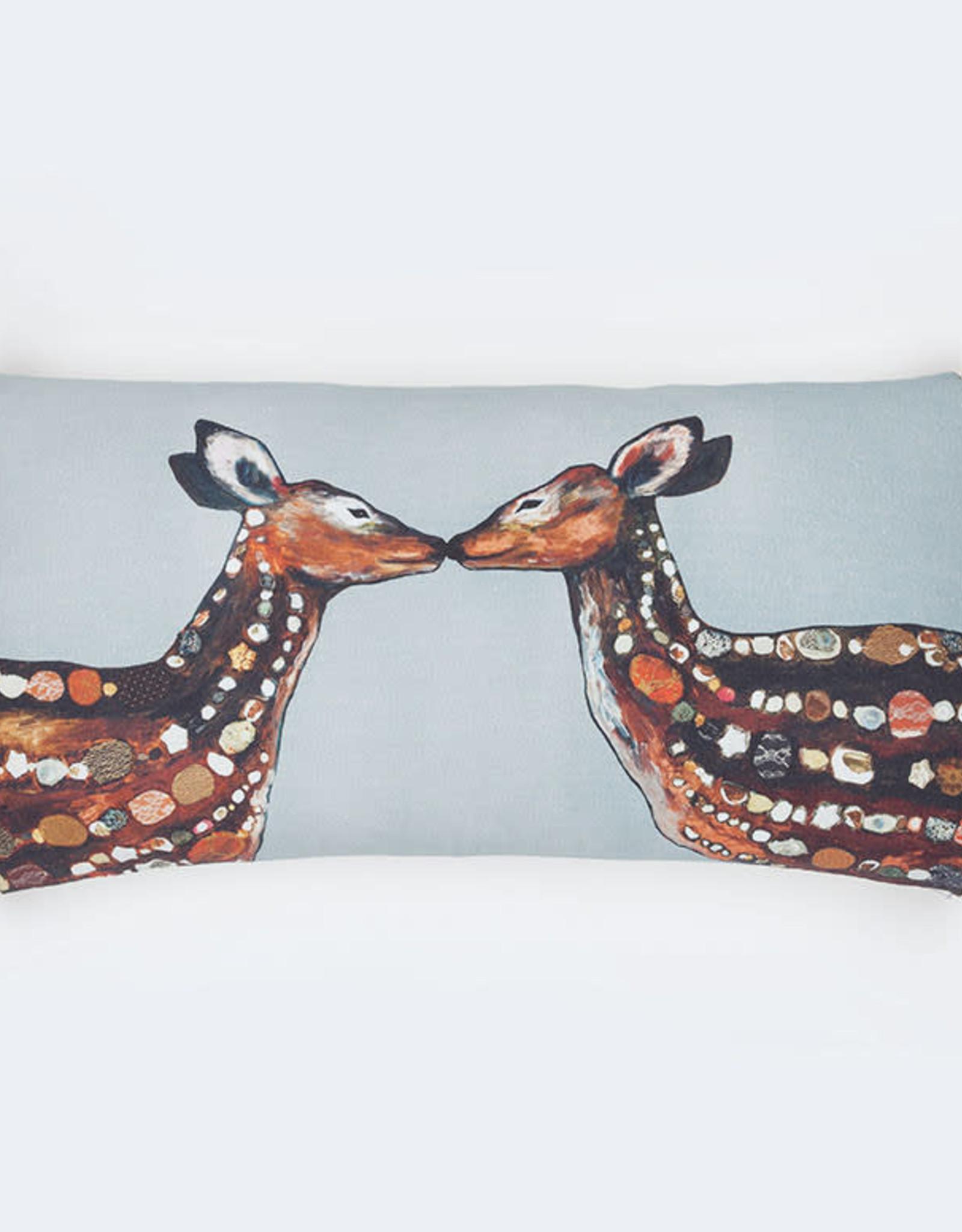 Greenbox Art Deer Love On Deep Gray Pillow 28x14