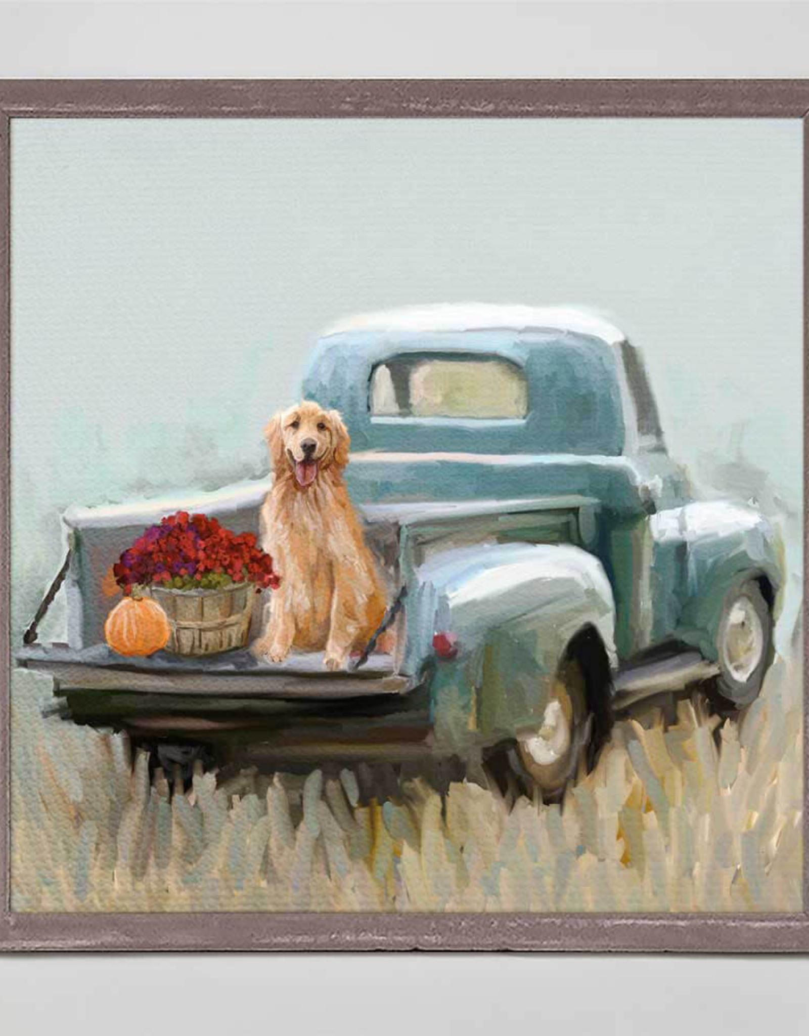 Greenbox Art Golden Pup In Truck Mini Canvas 6x6