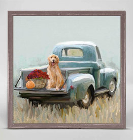 Greenbox Art Golden Pup In Truck Mini Canvas 6x6