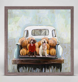 Greenbox Art Lab Pups In Truck Mini Canvas 6x6