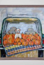 Greenbox Art Greenbox Pup In Truck With Pumpkins Mini Canvas 6x6