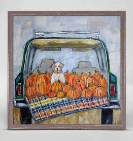 Greenbox Art Greenbox Pup In Truck With Pumpkins Mini Canvas 6x6