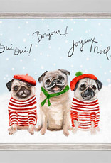 Greenbox Art Greenbox Holiday 3 French Pugs Mini Framed Canvas
