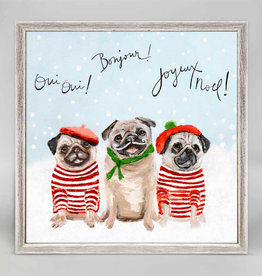 Greenbox Art Holiday -  3 French Pugs Mini Framed Canvas