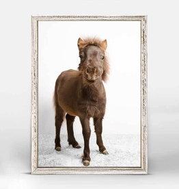 Greenbox Art Greenbox Petite Ponies Mocha Mini Framed Canvas