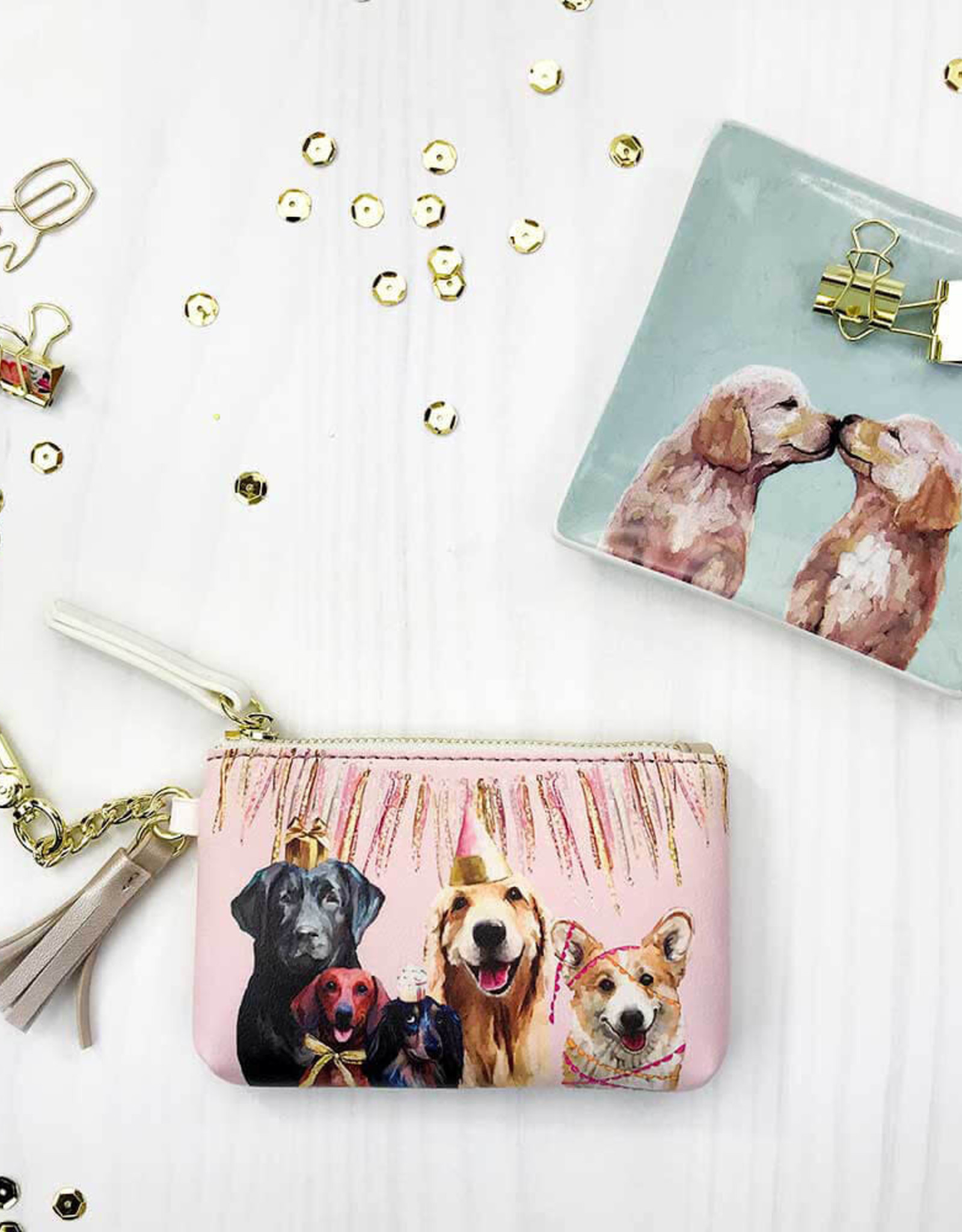Greenbox Art Greenbox Party Pups Key Pouch