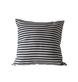 Creative Co-op Square Striped Pillow - Black