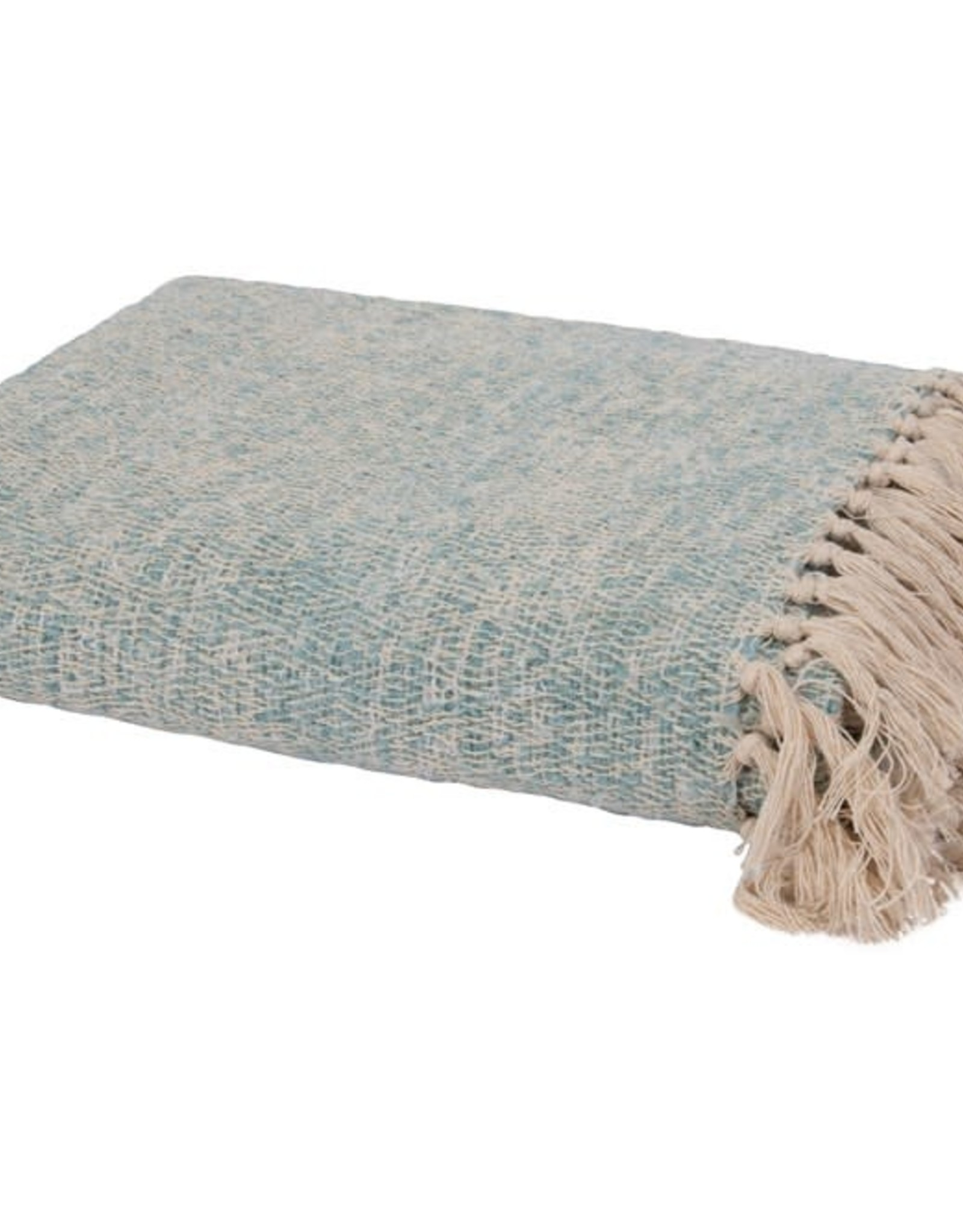 Creative Co-op Cotton & Acrylic Throw Blanket - Aqua