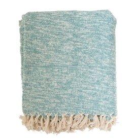 Creative Co-Op Creative Co-op Cotton & Acrylic Throw Blanket - Aqua