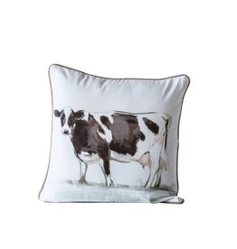 Creative Co-op Square Cotton Pillow w/ Cow 20""