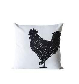 "Square Cotton Embroidered Pillow w/ Rooster ""22"