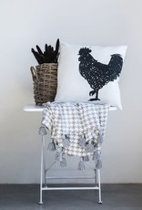 """Square Cotton Embroidered Pillow w/ Rooster """"22"""